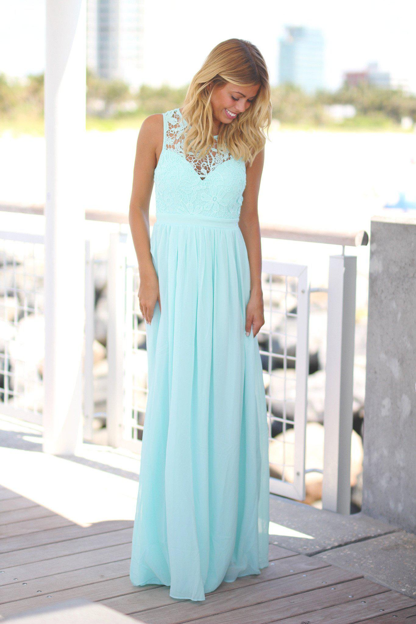 Mint Crochet Maxi Dress with Open Back