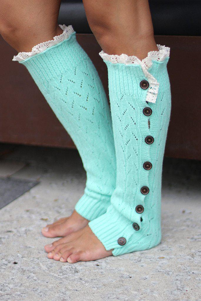 Mint Button Down Knit Leg Warmers