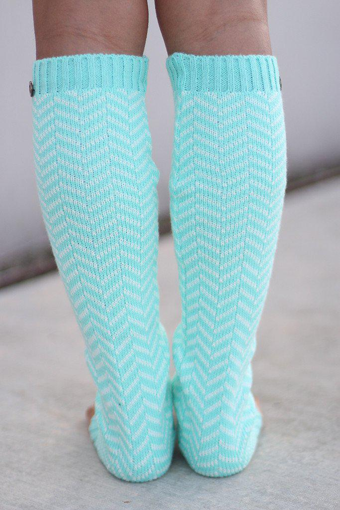 Mint Chevron Leg Warmers