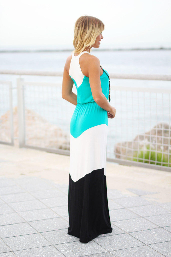 jade color block long dress