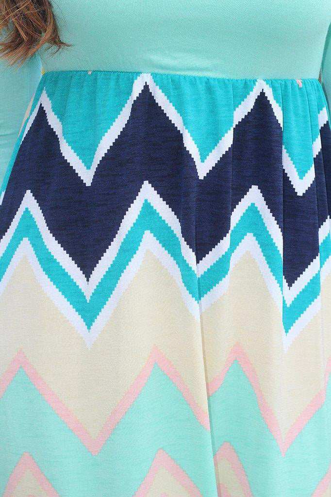 Mint Chevron Bottom Short Dress with 3/4 Sleeves