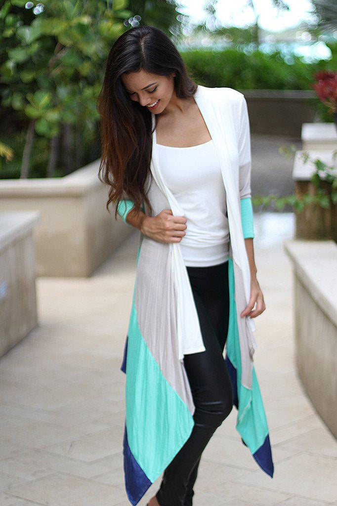 Mint Color Block Long Cardigan