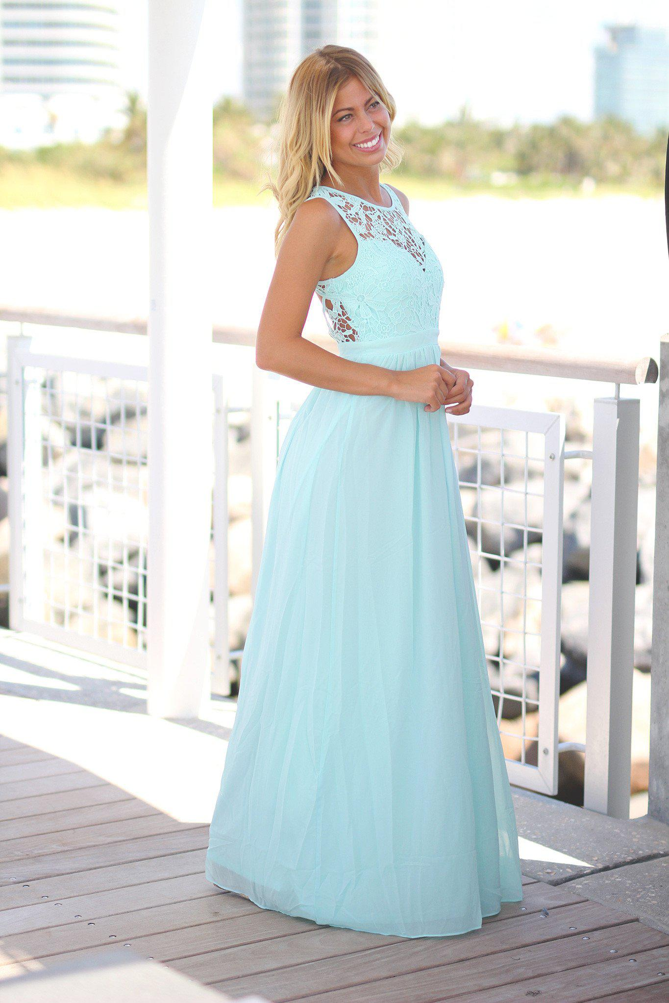 Mint Crochet Maxi Dress with Open Back | Bridesmaid Dresses – Saved ...