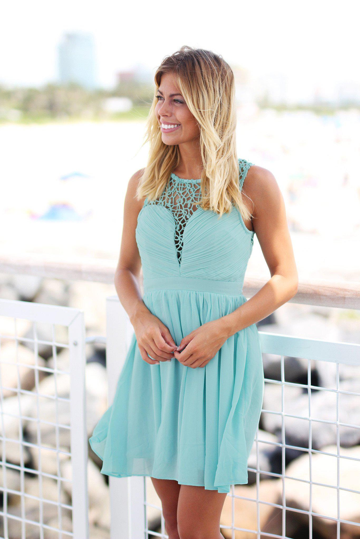 Dusty Mint Crochet Short Dress