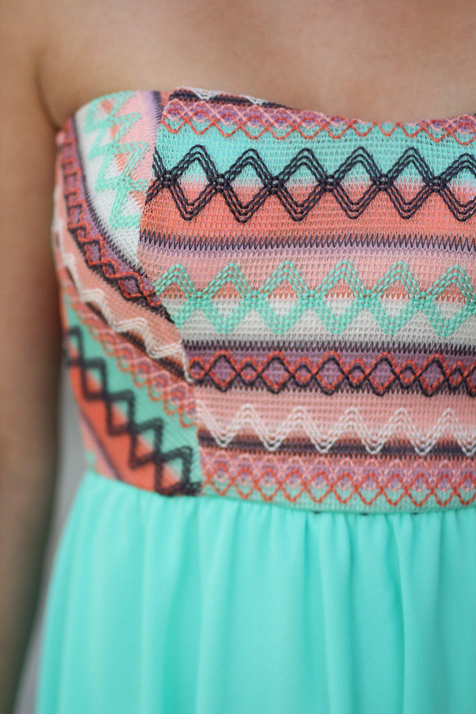 mint embroidered top dress