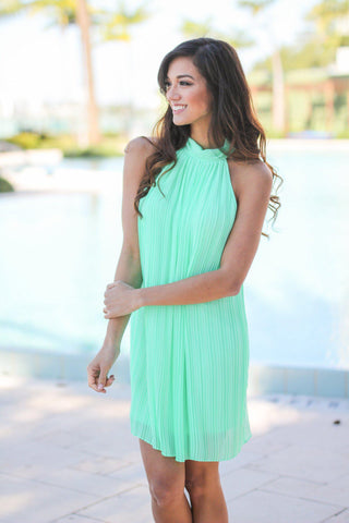 Mint High Neck Pleated Dress
