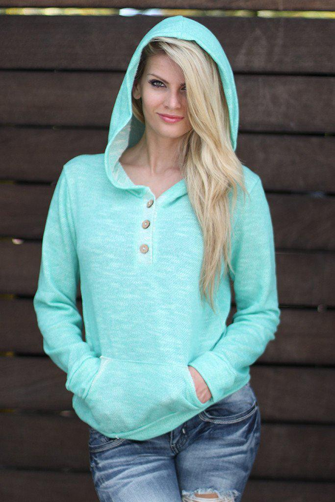 mint sweater with hood