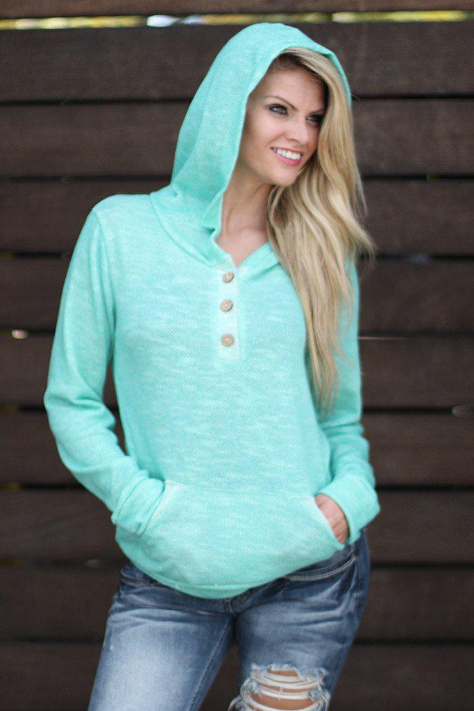 Mint Hoodie with Buttons