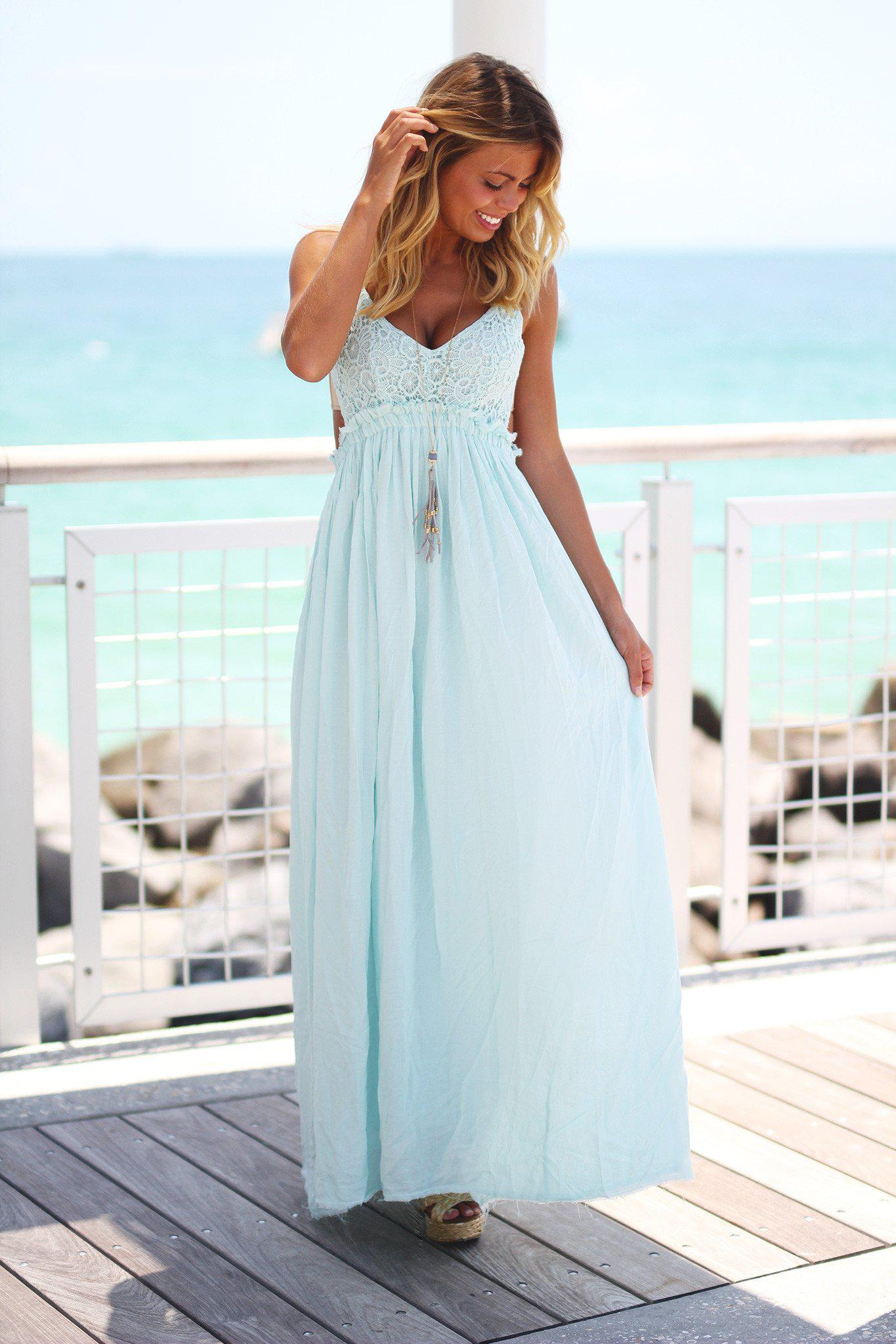 Mint Lace Maxi Dress with Open Back and Frayed Hem