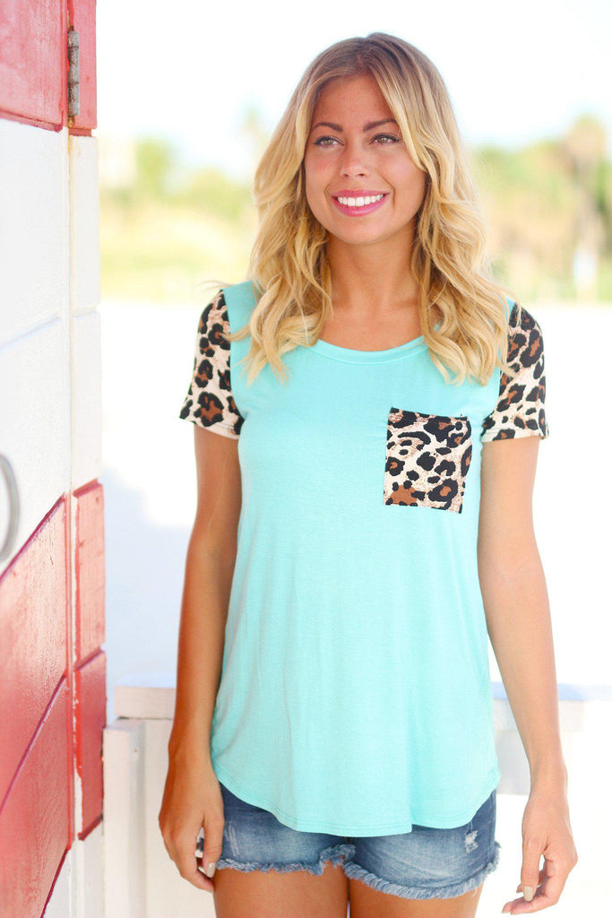 Mint Leopard Top with Pocket