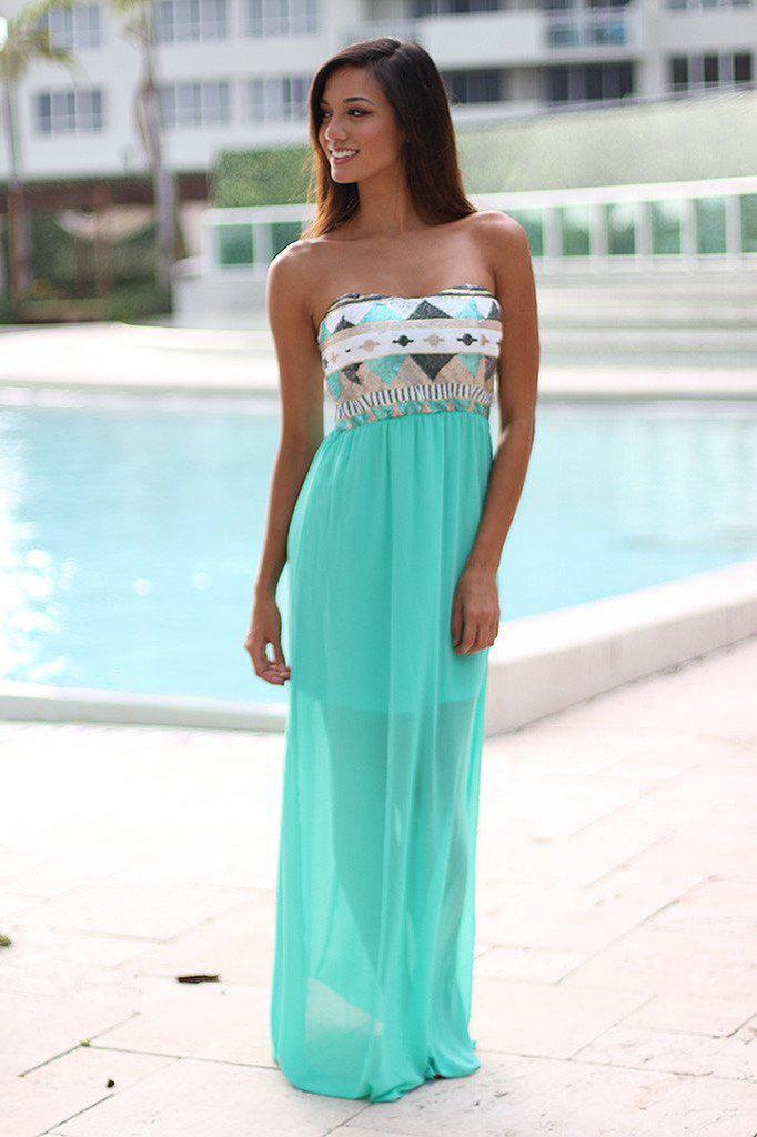 Mint Maxi Dress With Sequin Top