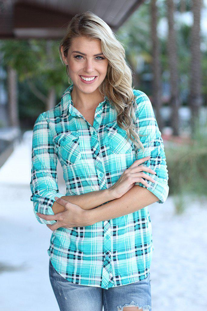 Mint Plaid Top