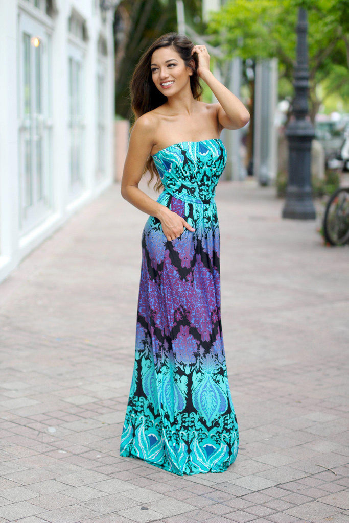 aqua and purple strapless maxi dress