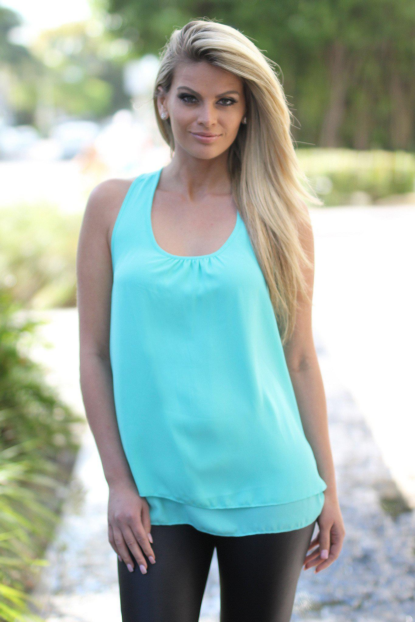 Mint Top with Ruffle Racer Back