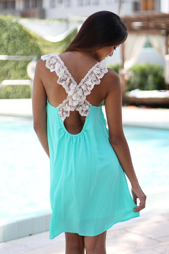 Mint Short Dress With Criss Cross Lace Back