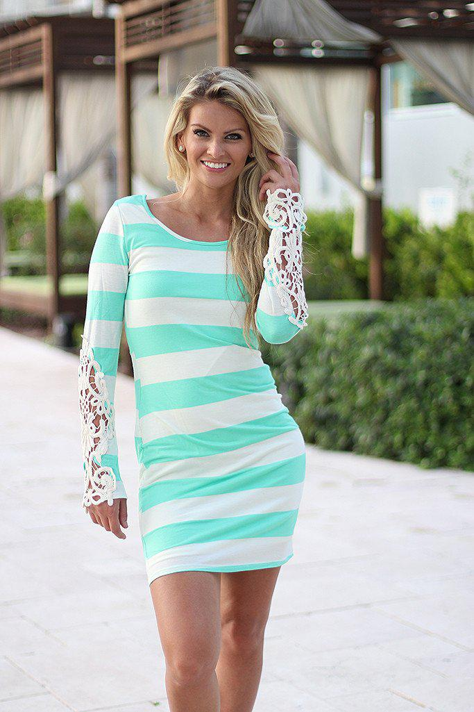 Mint Striped Short Dress with Crochet Sleeves