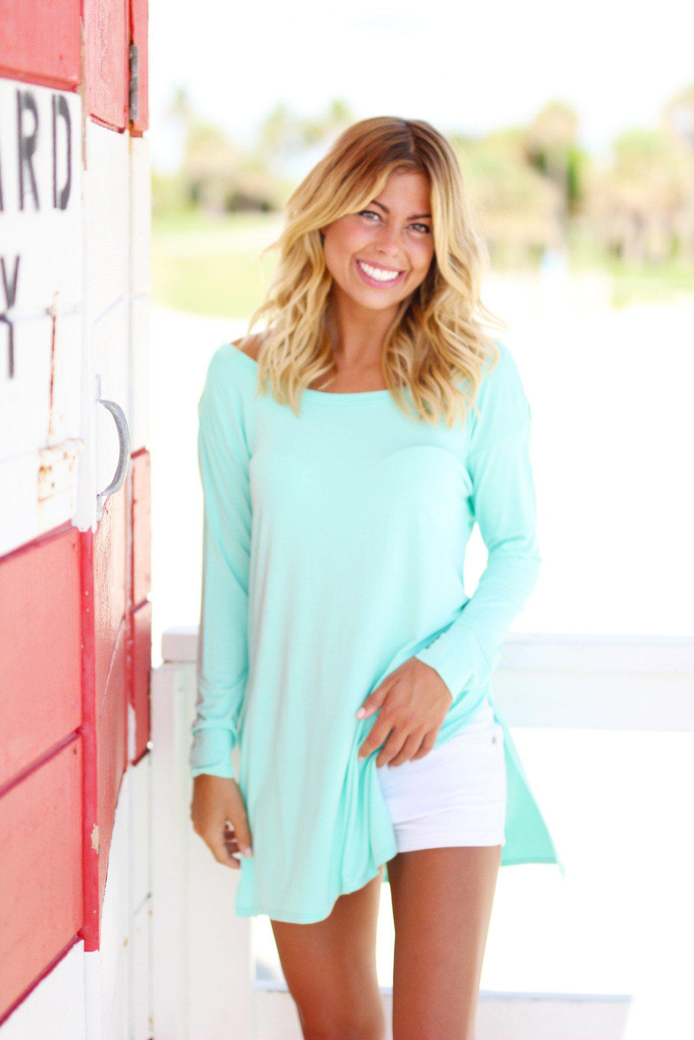 Mint Top with Crochet Back