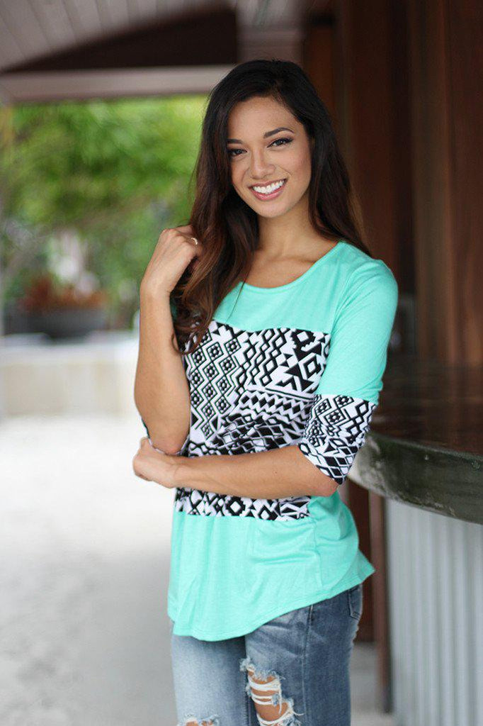 mint aztec print top
