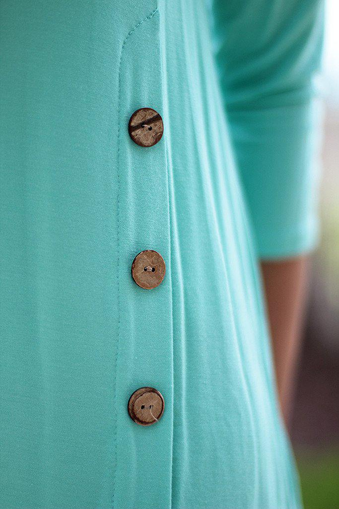 Mint Top With ¾ Sleeves And Buttons