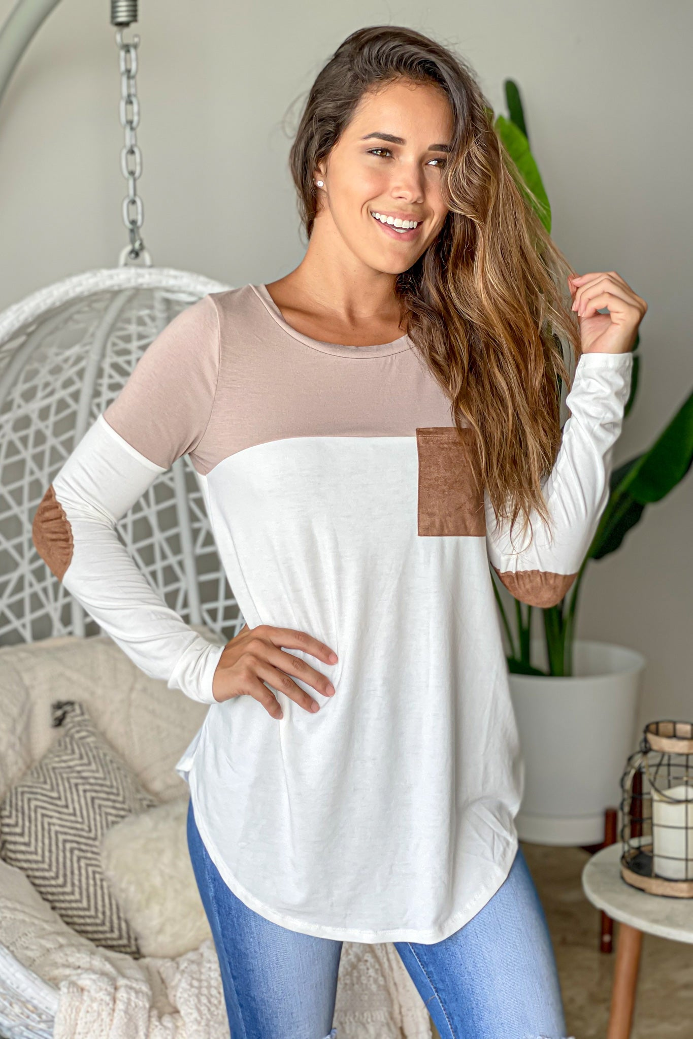 mocha and ivory cute top