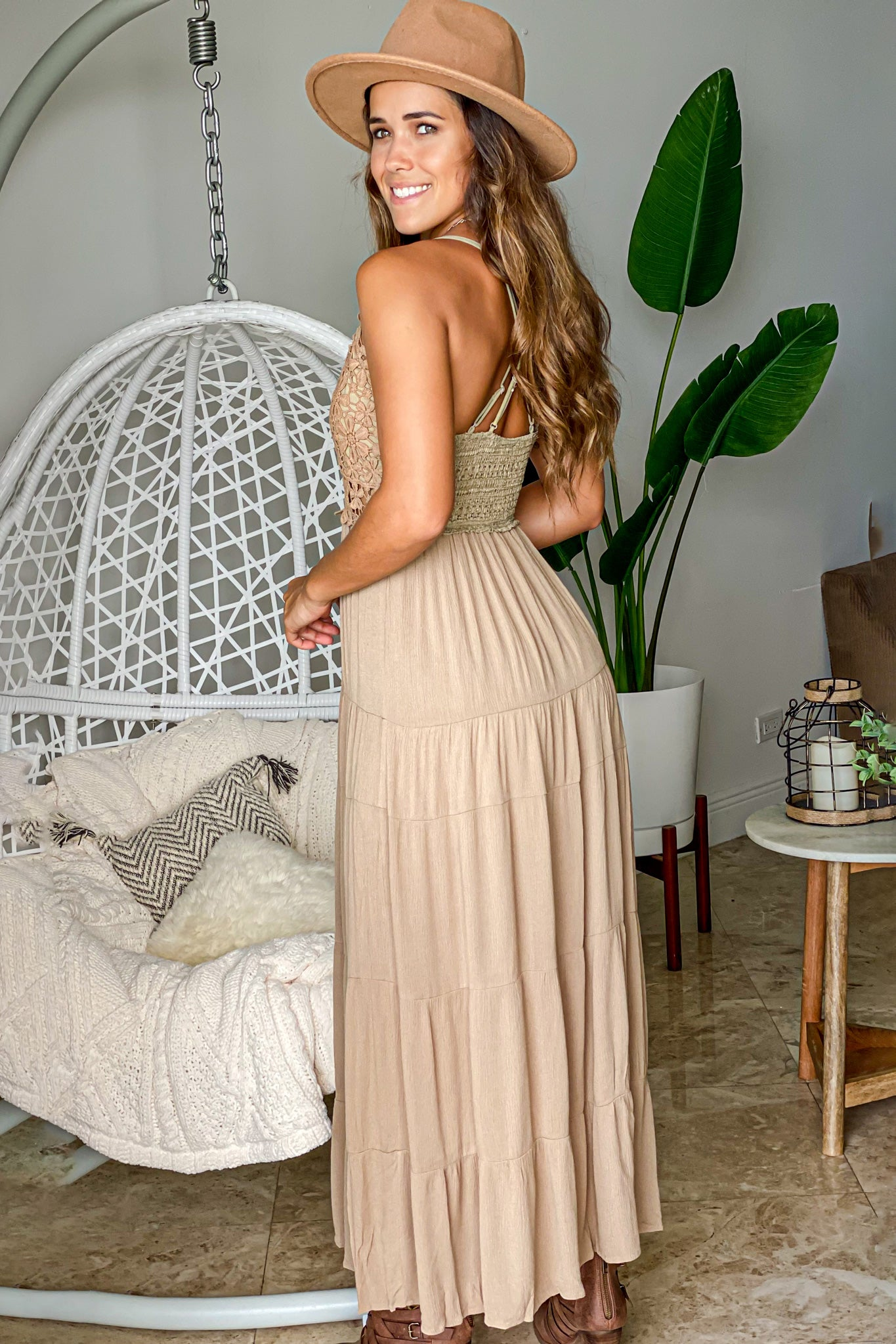 mocha casual maxi dress