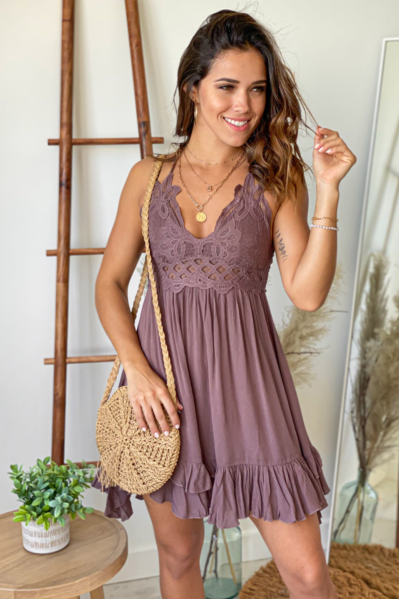 mocha cute short dress