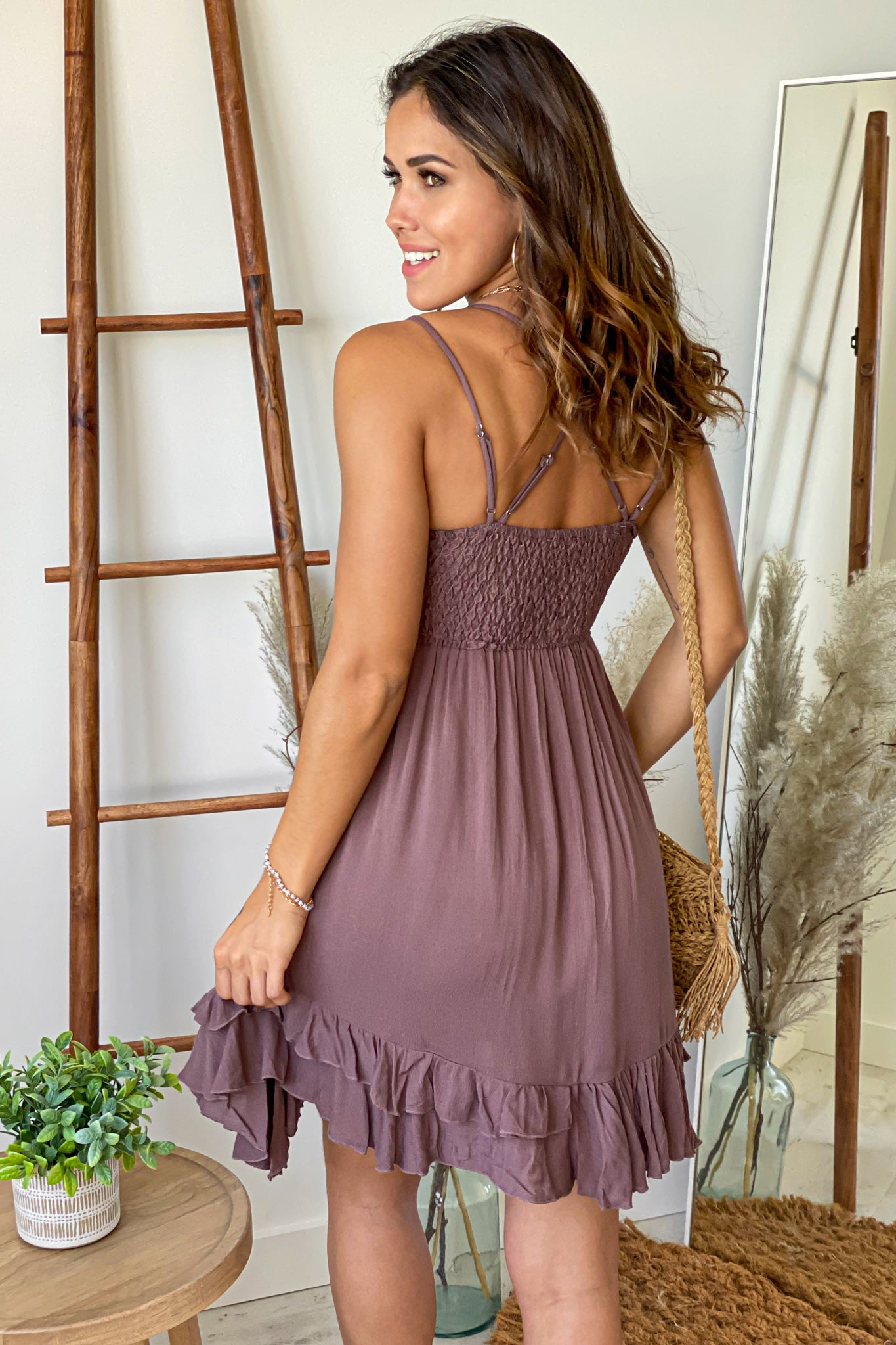 mocha short dress with criss cross back