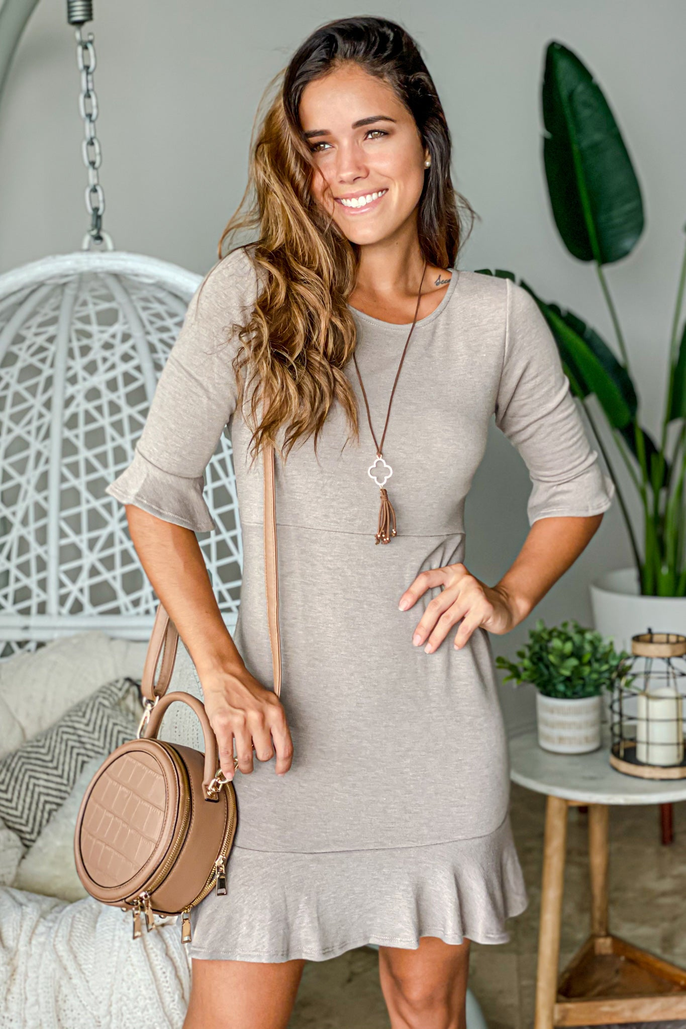mocha short dress with ruffle details