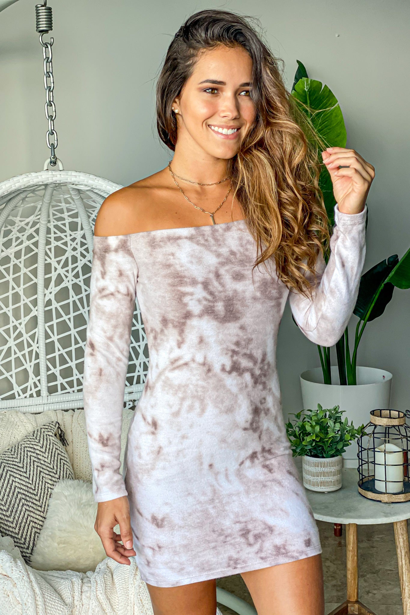mocha tie dye casual short dress
