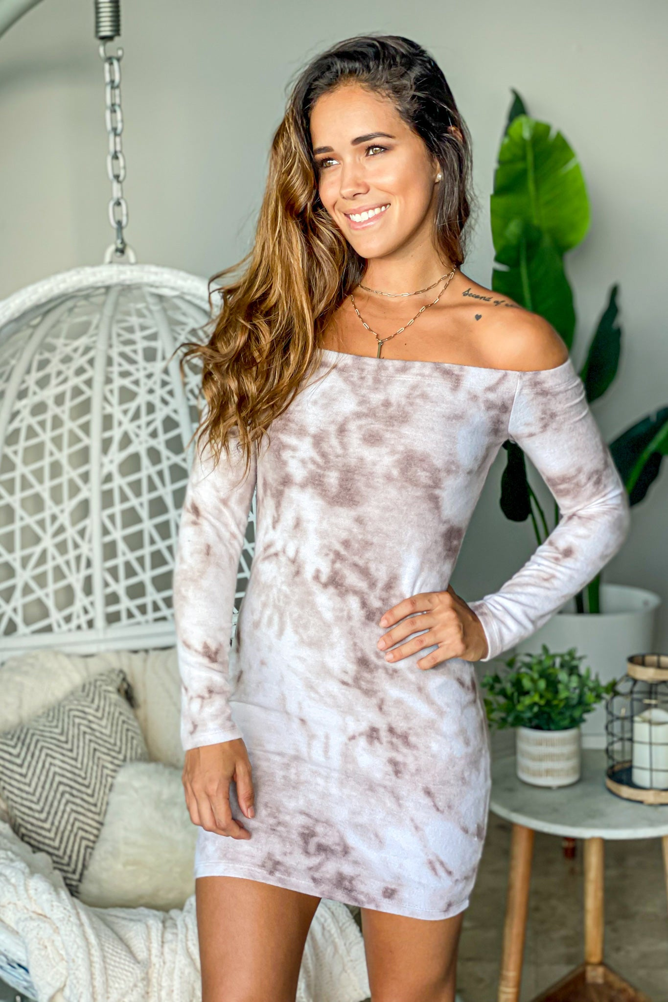 mocha tie dye cute short dress