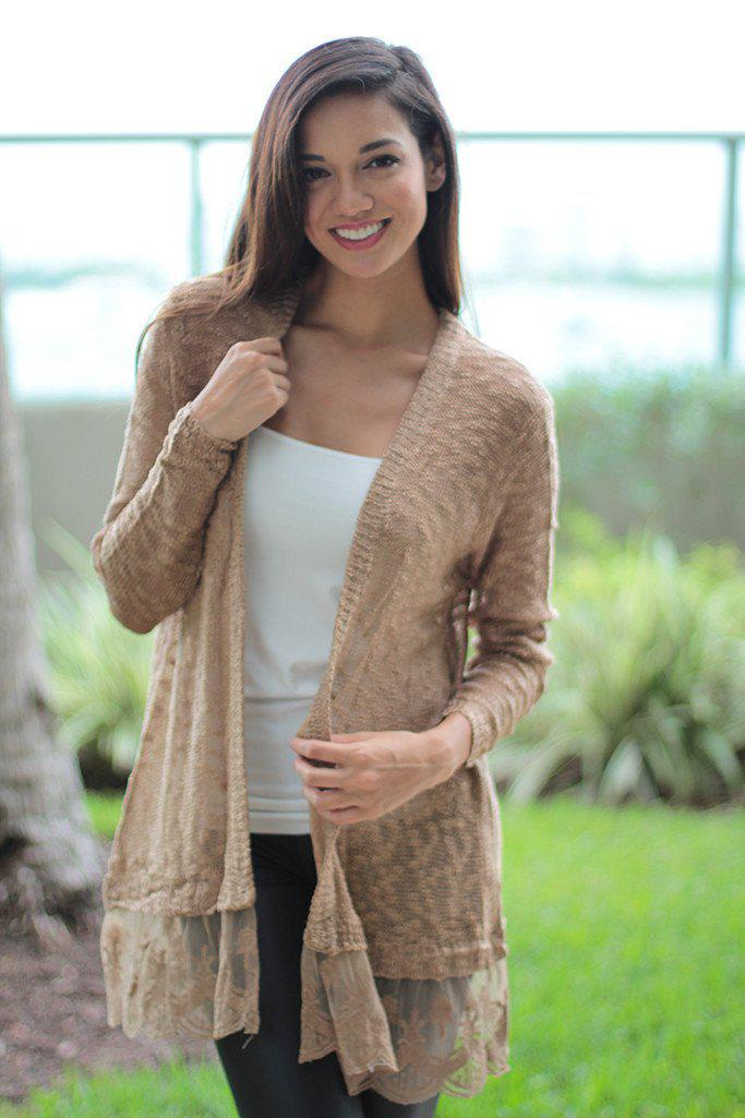 Mocha Cardigan with Lace Trim