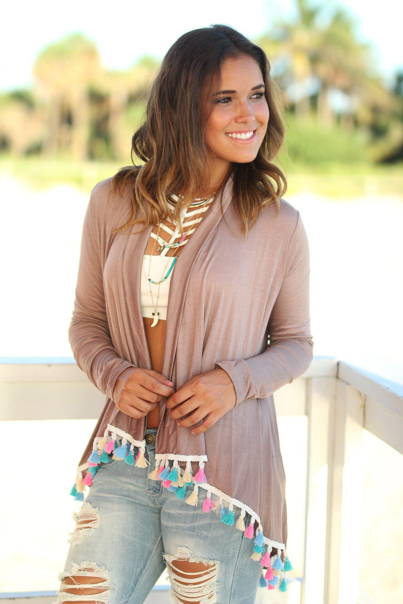 Mocha Cardigan with Multicolor Tassels