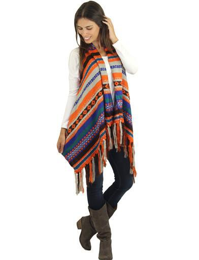 Multi color cardigan with fringe - front view