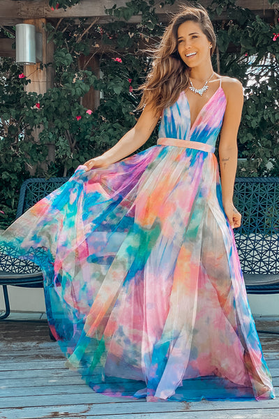 Multi Colored Maxi Dress With Pleated Top