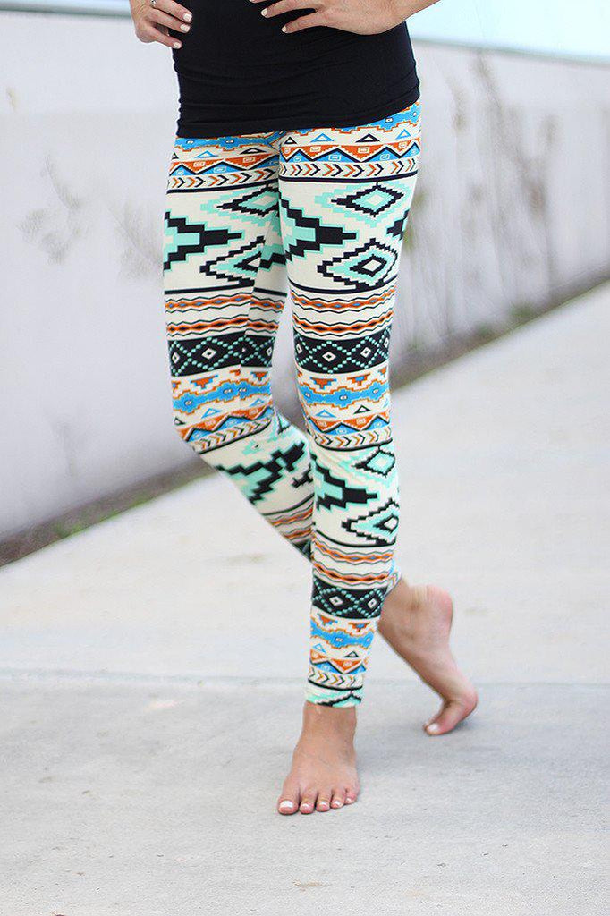 Multi Color Aztec Print Leggings