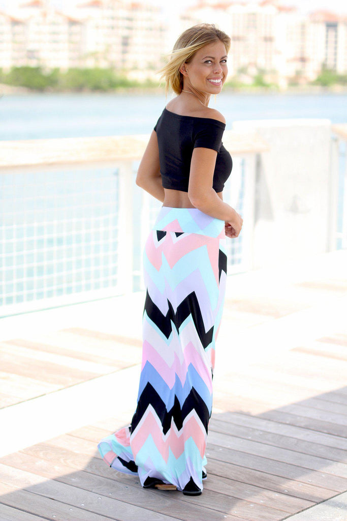 mint and peach skirt