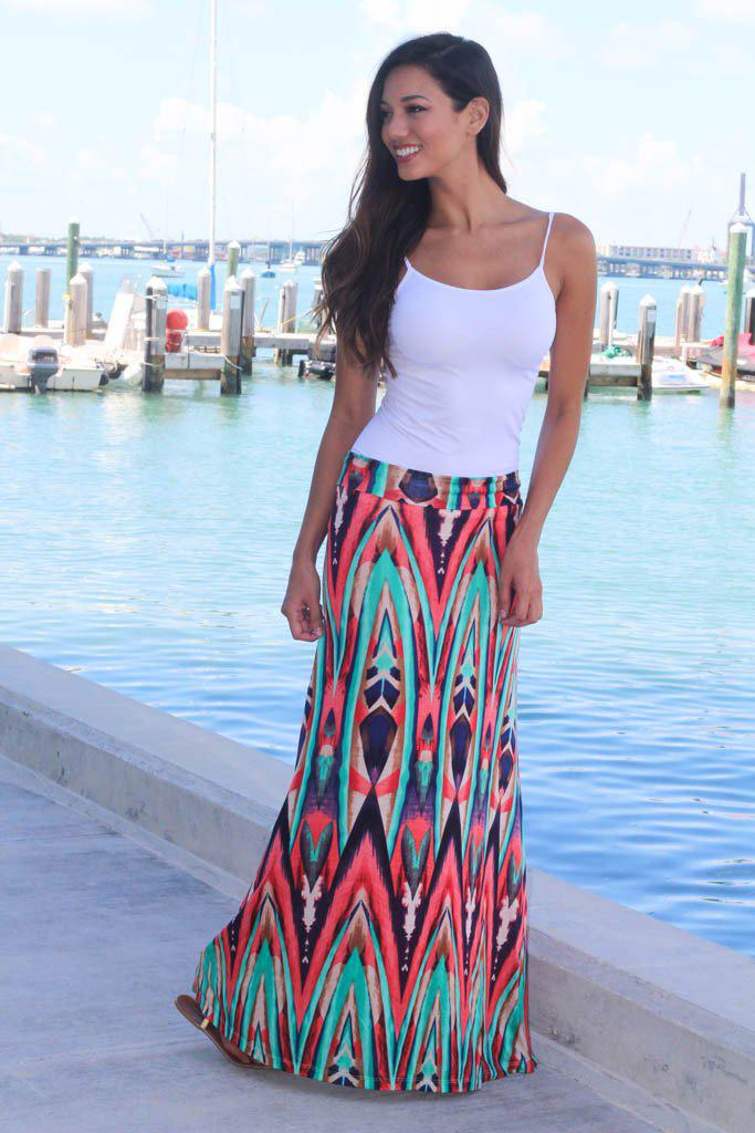 coral and mint long skirt