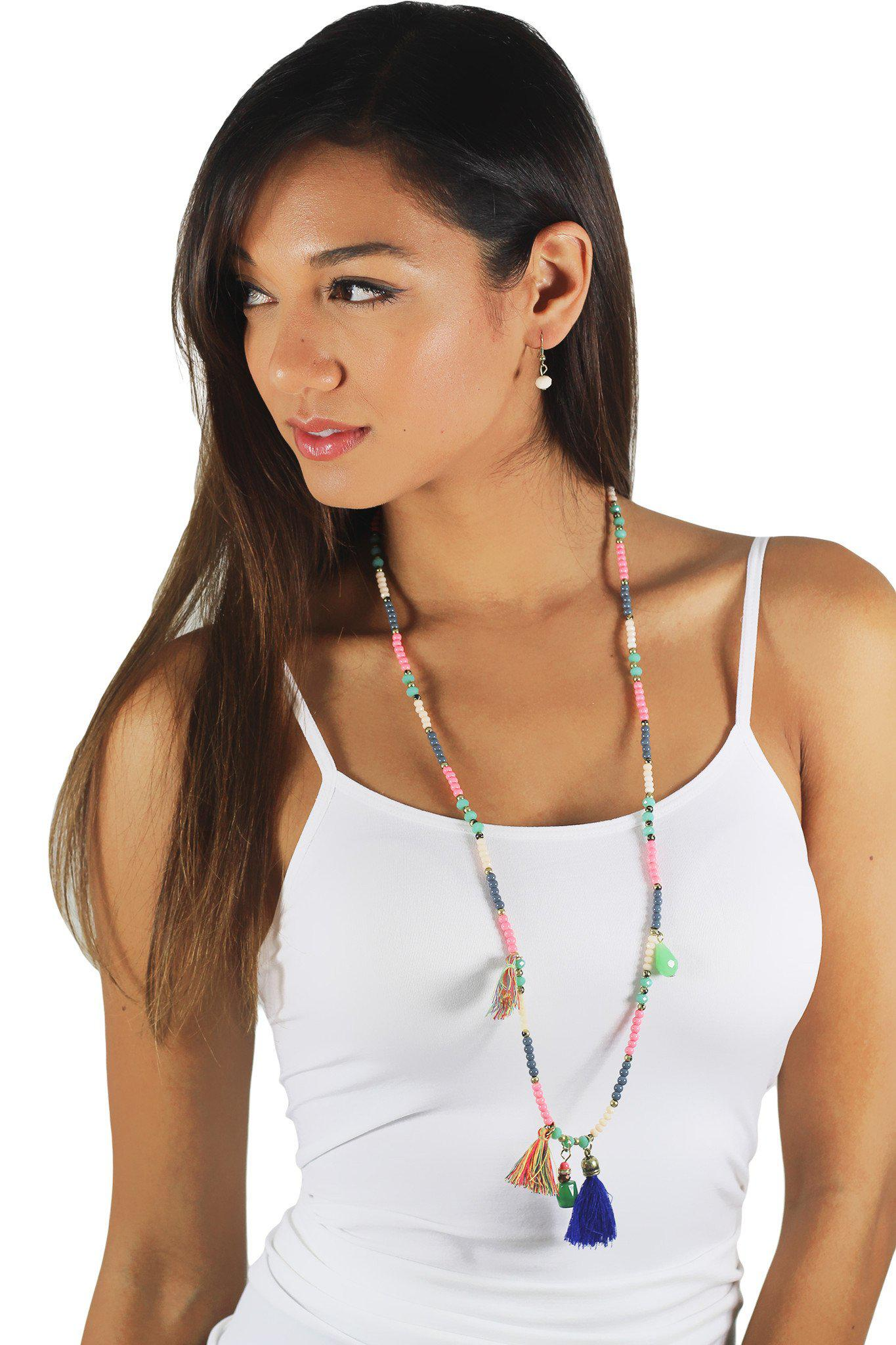 Multi Color Stone and Tassel Necklace
