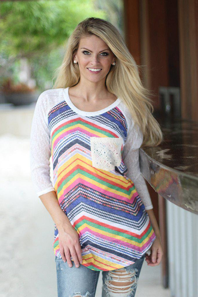 Multi Color Top with Crochet Pocket
