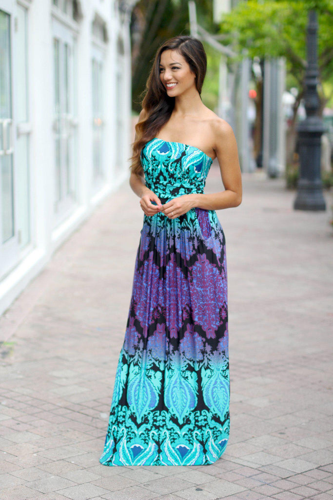 printed strapless long dress