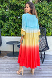 multicolored ombre vacation cover up