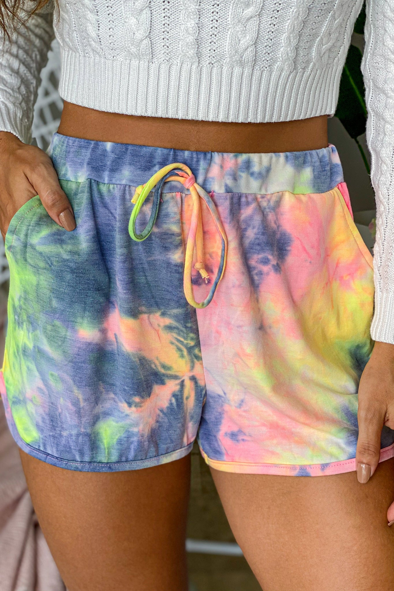 multicolored tie dye shorts