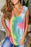 multicolored tie dye top with ruffled strap