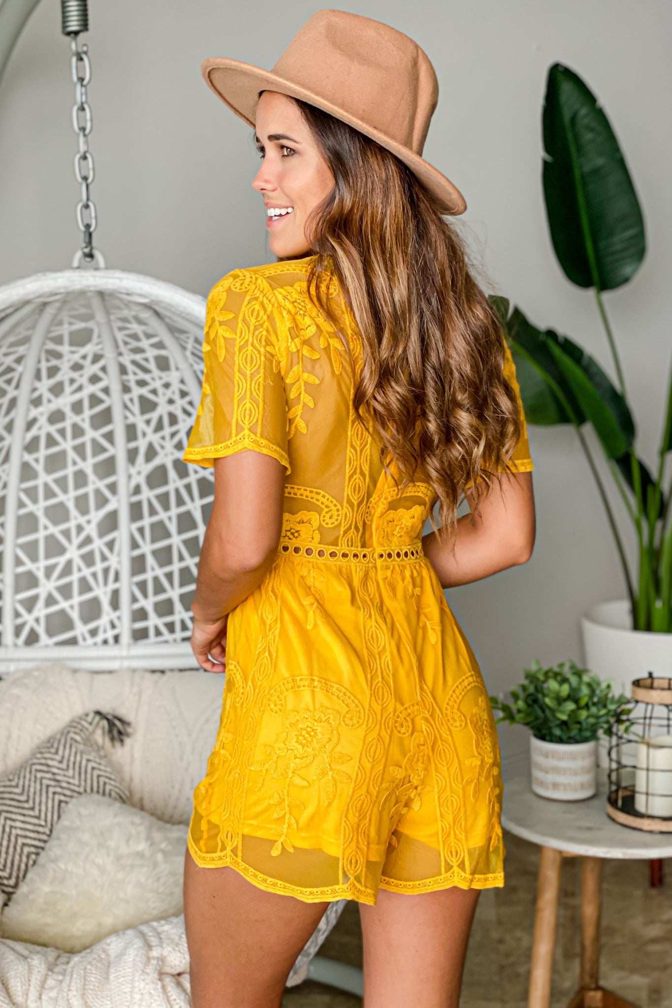 mustard special occasion romper