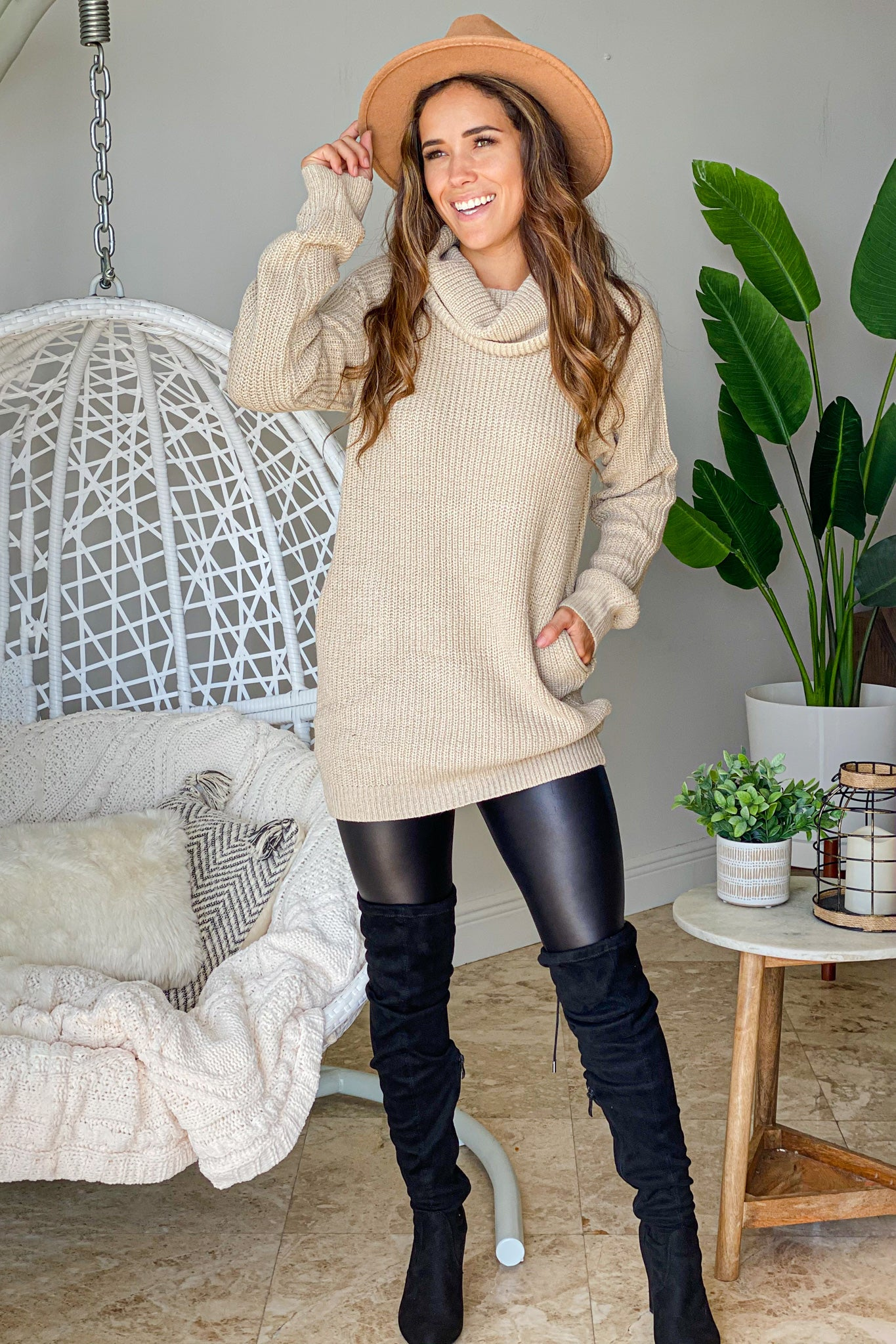 natural cowl neck sweater dress