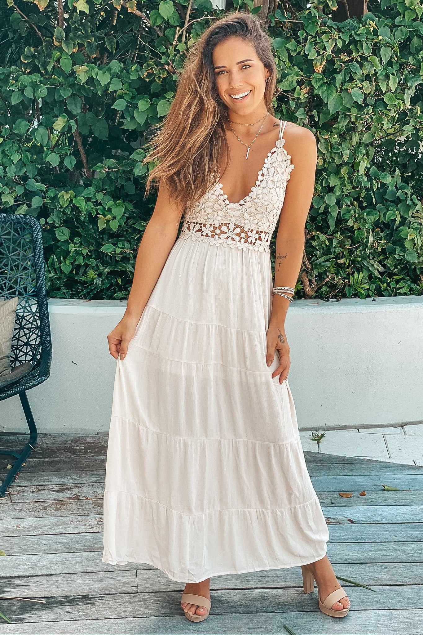 natural lace maxi dress with cutouts