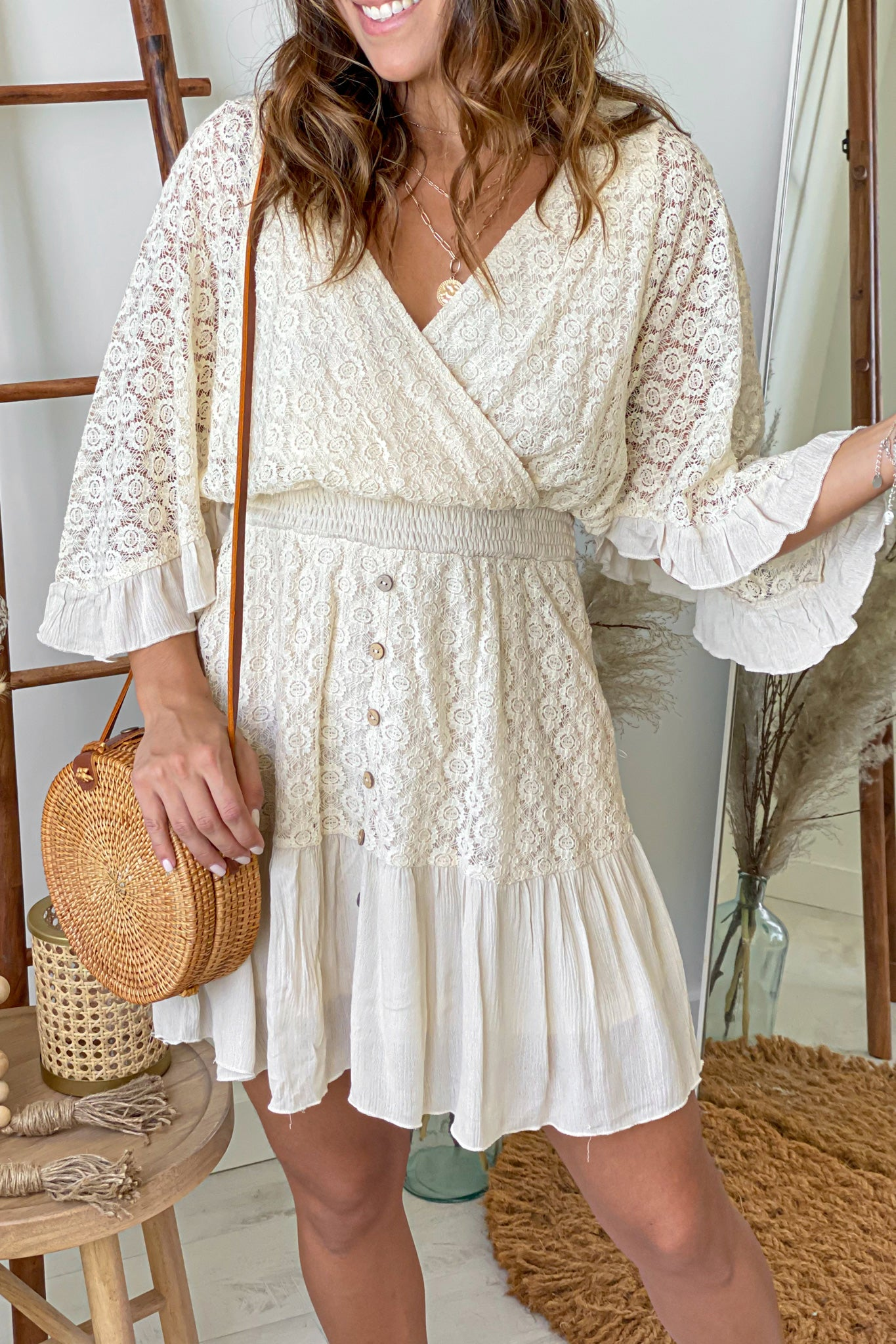 natural lace short dress with sleeves