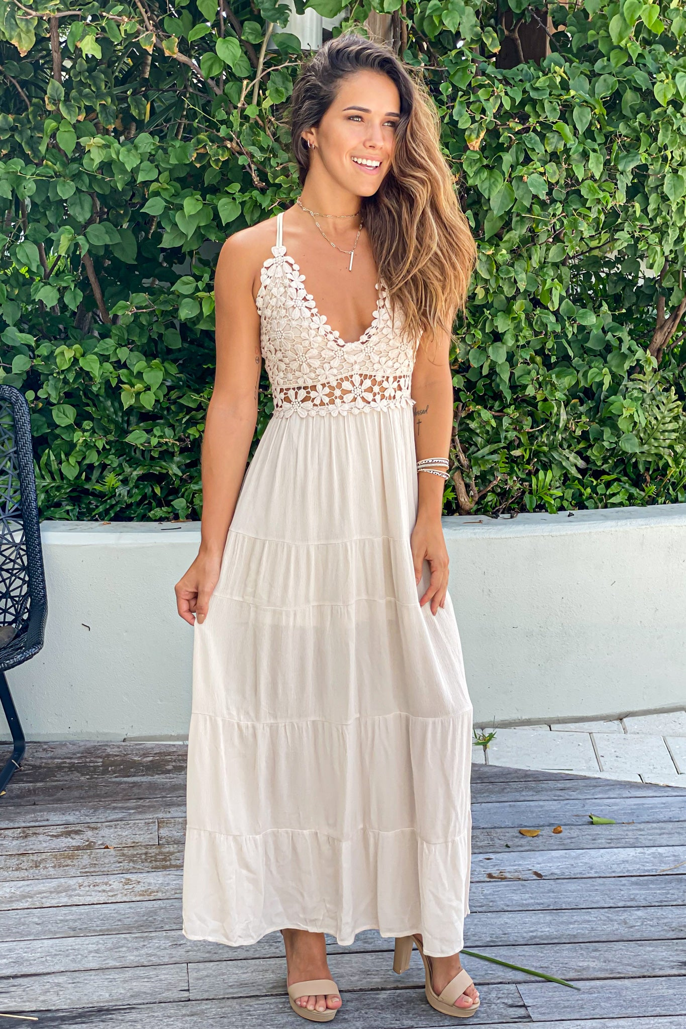 natural lace wedding guest dress