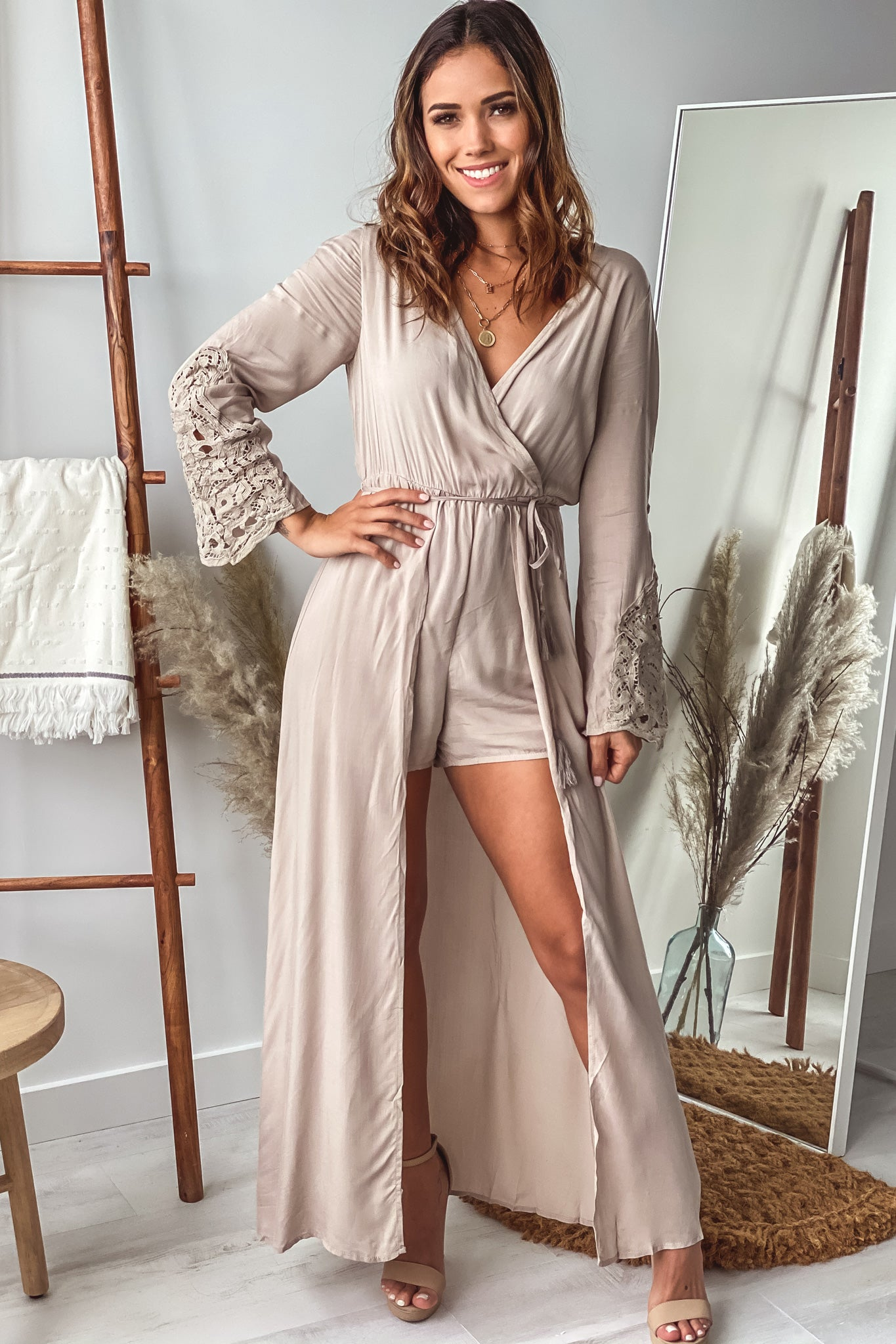natural long sleeve maxi romper with lace detail