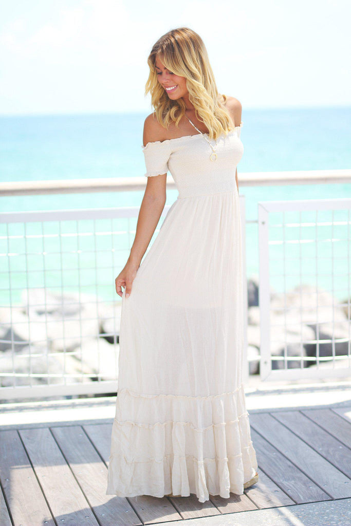 natural off shoulder maxi dress